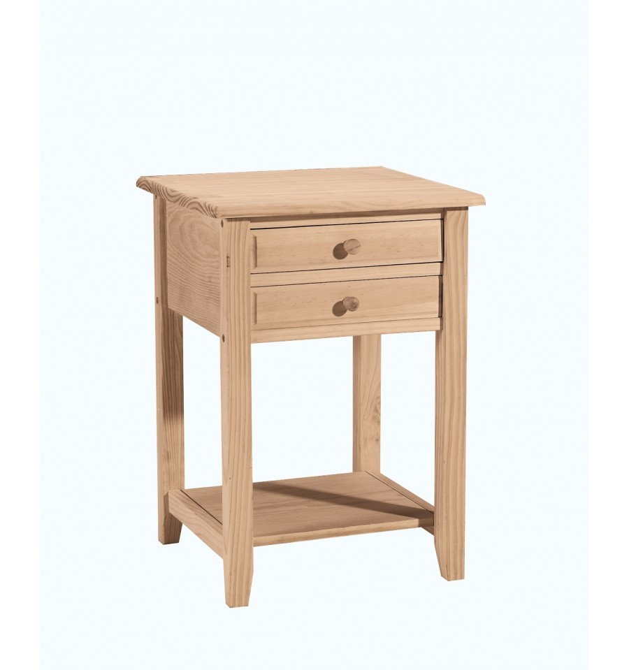 18 Inch Lamp Table With 2 Drawers Wood You Furniture
