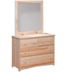 [47 Inch] Primitive 4 Drawer Dresser and Mirror