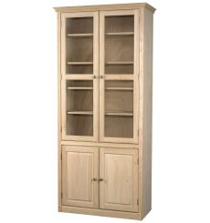 Face Frame Crown Bookcases: Wood and Glass Doors | AWB-BK3