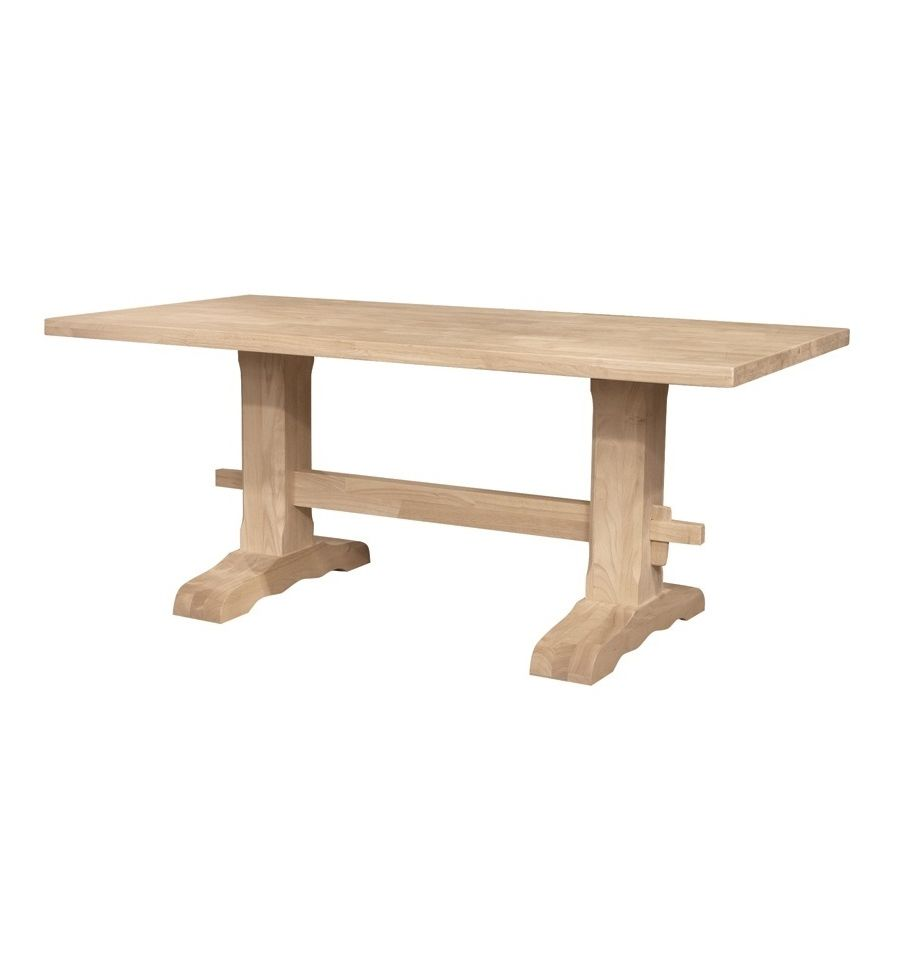 72 Inch Heavy Trestle Dining Table Wood You Furniture